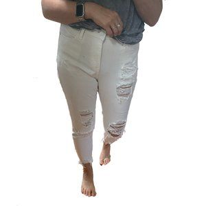 White Ripped Express Jeans - Size 6S